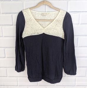 Anthro Postmark Navy Top With Lace Panels